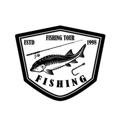 Fishing tour emblem template with sturgeon fish vector