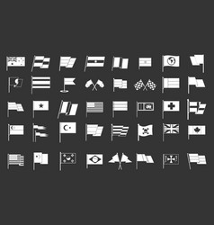 flag icon set grey vector image