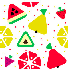 geometric triangle fruits seamless pattern vector image