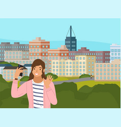 girl has a video conference on phone vector image
