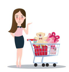 Girl woman buying purchase presents toy doll push vector