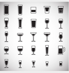 Glasses icons set on white background for graphic vector