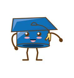 Graduation hat kawaii cartoon vector