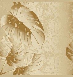 grunge textured 3d palm leaves seamless vector image