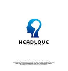 head love logo head intelligence logo designs vector image