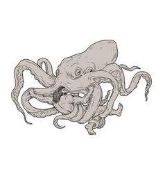 Hercules fighting giant octopus drawing vector