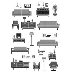 home furniture room interior accessories icon vector image