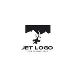Jet logo crash into mountain logo vector