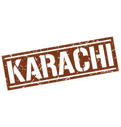 Karachi brown square stamp vector