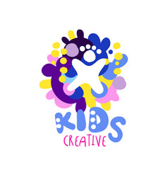 kids creative logo colorful hand drawn labels and vector image