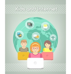 kids on internet world over vector image