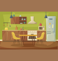 Kitchen home interior dining room furniture vector