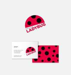 Ladybug logo kids club flat icon vector