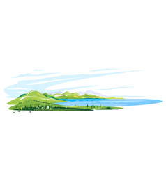lake in moutains landscape panorama isolated vector image