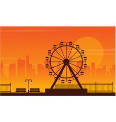 Landscape amusement park silhouette style vector