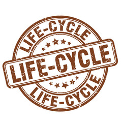 Life-cycle brown grunge stamp vector