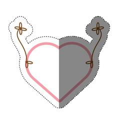 Love heart hanging decorative shadow vector