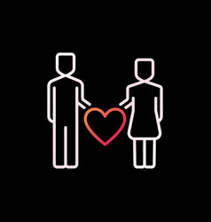 man and woman with heart colorful icon or vector image