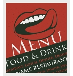 Menu with a picture of the human mouth to lick vector