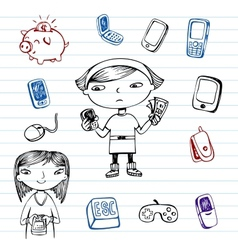 Mobile communication hipsters doodle set vector