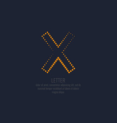 Modern dotted letter x of the latin alphabet vector