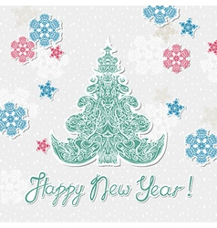 new year template poster with snowflakes and tree vector image