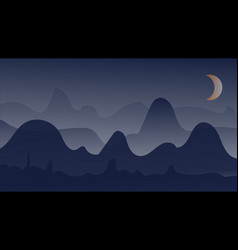 night mountain winter landscape vector image