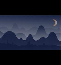 night mountain winter landscape vector image