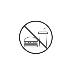 No food line icon no eating prohibited sign vector