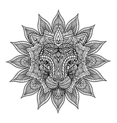 Outline lion mandala vector
