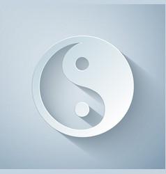 Paper cut yin yang symbol harmony and balance vector