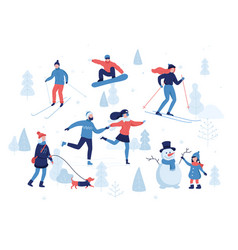 People having winter activities in park skiing vector