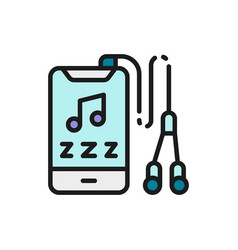 player with headphones flat color icon vector image
