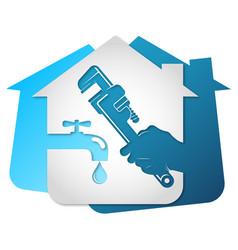 Plumbing home repair wrench in hand vector