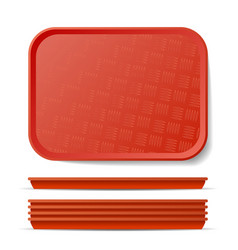 Red plastic tray salver classic vector