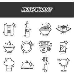 Restaurant cartoon concept icons vector