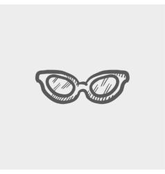 Retro cat eyeglasses sketch icon vector image