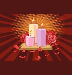 Romantic candles and rose petals vector