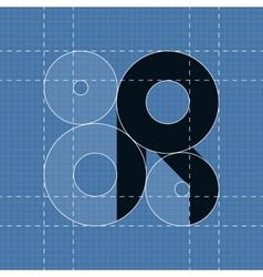 Round engineering font Symbol R vector image