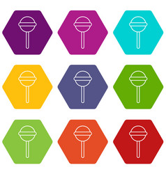 round lollipop icons set 9 vector image