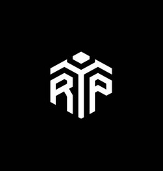 rp monogram logo with abstract hexagon style vector image