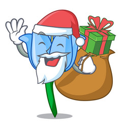 santa with gift bell flower mascot cartoon vector image