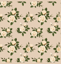 seamless pattern with beige roses vector image