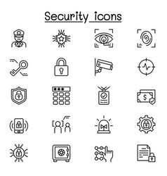 security icons set in thin line style vector image