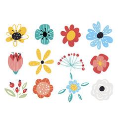 set decorative floral design elements flat vector image