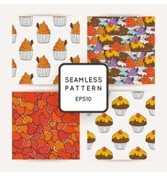 Set of Hearts and Muffins Seamless Patterns vector image