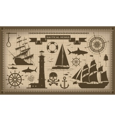 Set of nautical design elements EPS10 vector image