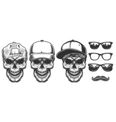 set of skull in cap vector image