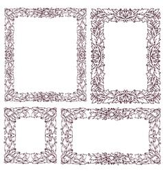 set vintage frame with floral ornament vector image