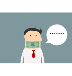 Silent businessman gagged with money vector image